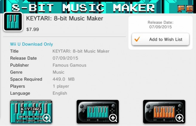 KEYTARI: 8-bit Music Maker coming Wii U on July 9th | GoNintendo