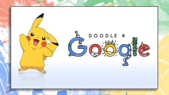 pikachu joins the panel of judges for the doodle 4 google creative