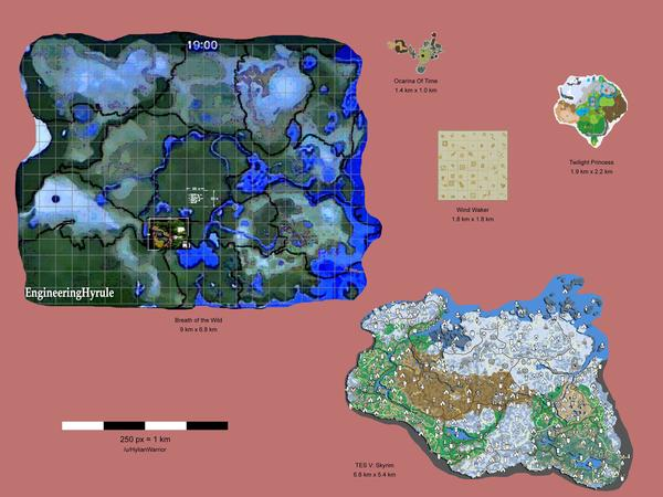 The legend of zelda breath of the wild vs skyrim map size if youre dying to find out just how big breath of the wild is heres your best chance yet this fan made map comparison shows how huge the game world is gumiabroncs Images