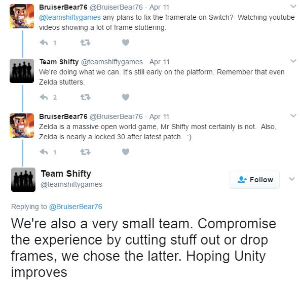 Mr  Shifty dev response to framerate issues causing concern with
