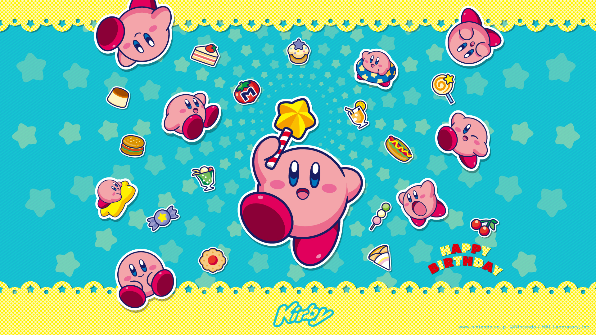 kirby happy birthday official wallpaper available gonintendo