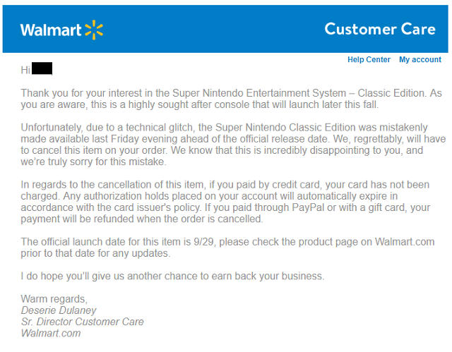 Seems Walmart is officially cancelling all SNES Classic