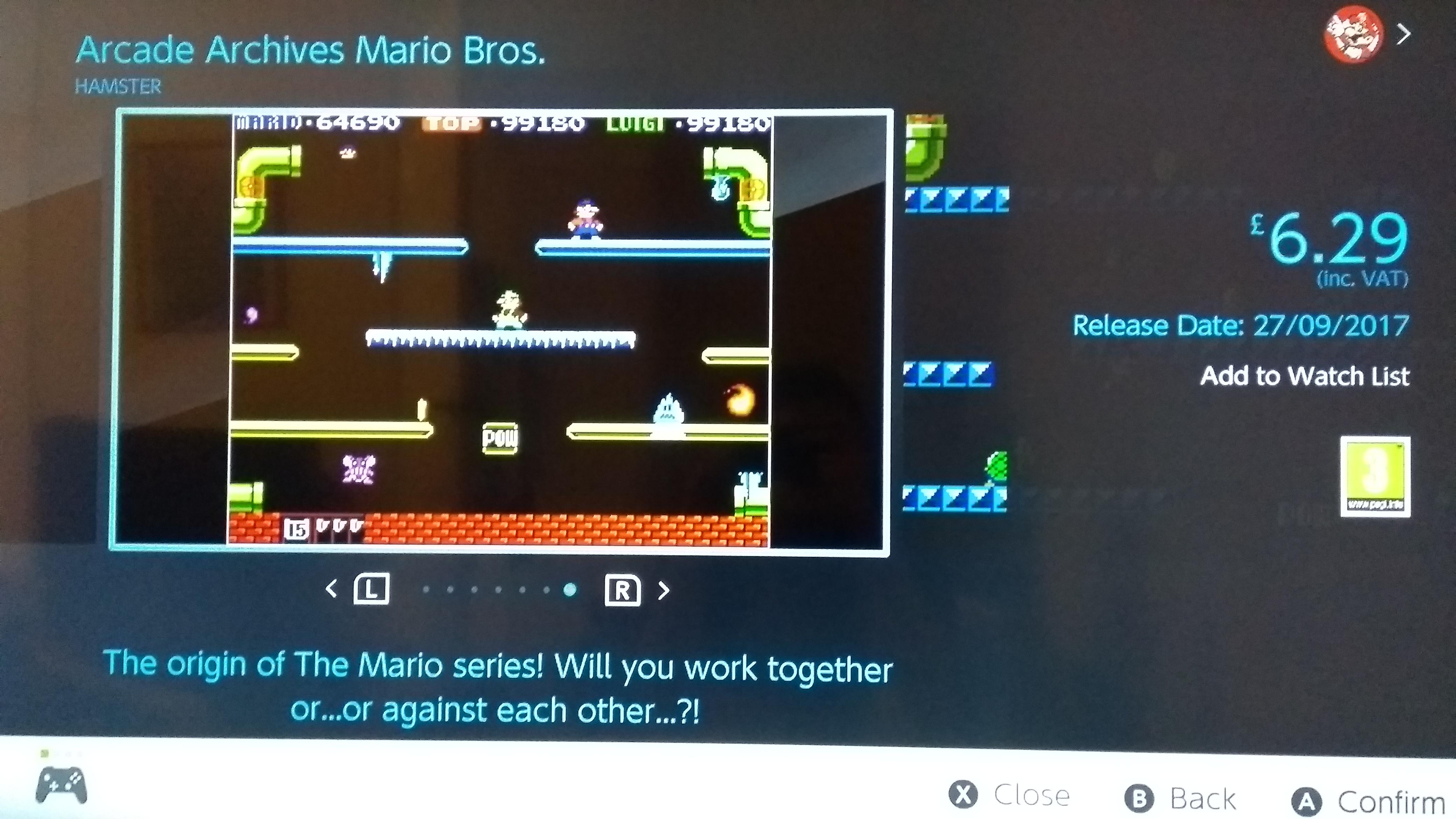 Arcade Archives Mario Bros Listed For 6 29 In The Uk Switch