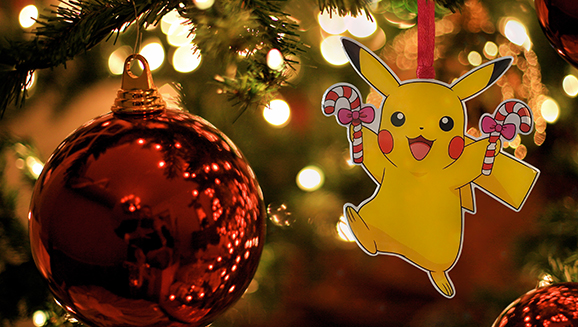 "Toys""R""Us and Pokémon are celebrating the holiday season with a trio of exclusive Pikachu ornaments that will make your home look extra festive."