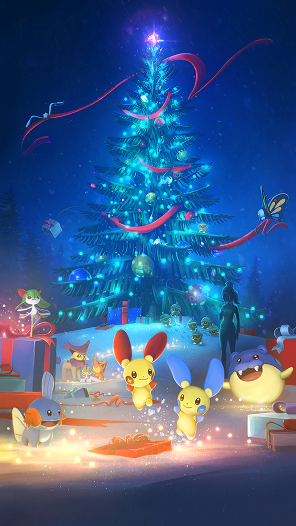 If You Are A Fan Of The Holiday Event Loading Screen In Pokemon Go Now You Can Have It As A Mobile Wallpaper Niantic Has Added The Image To Their Running
