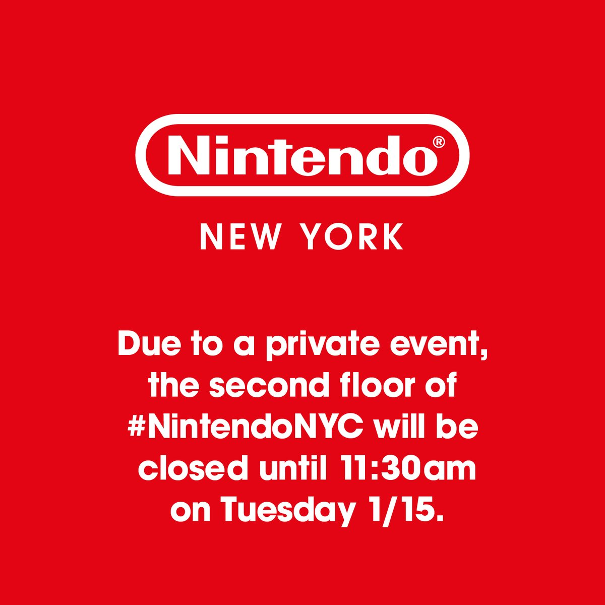 Nintendo NY hosting private event on Jan. 15th, 2019