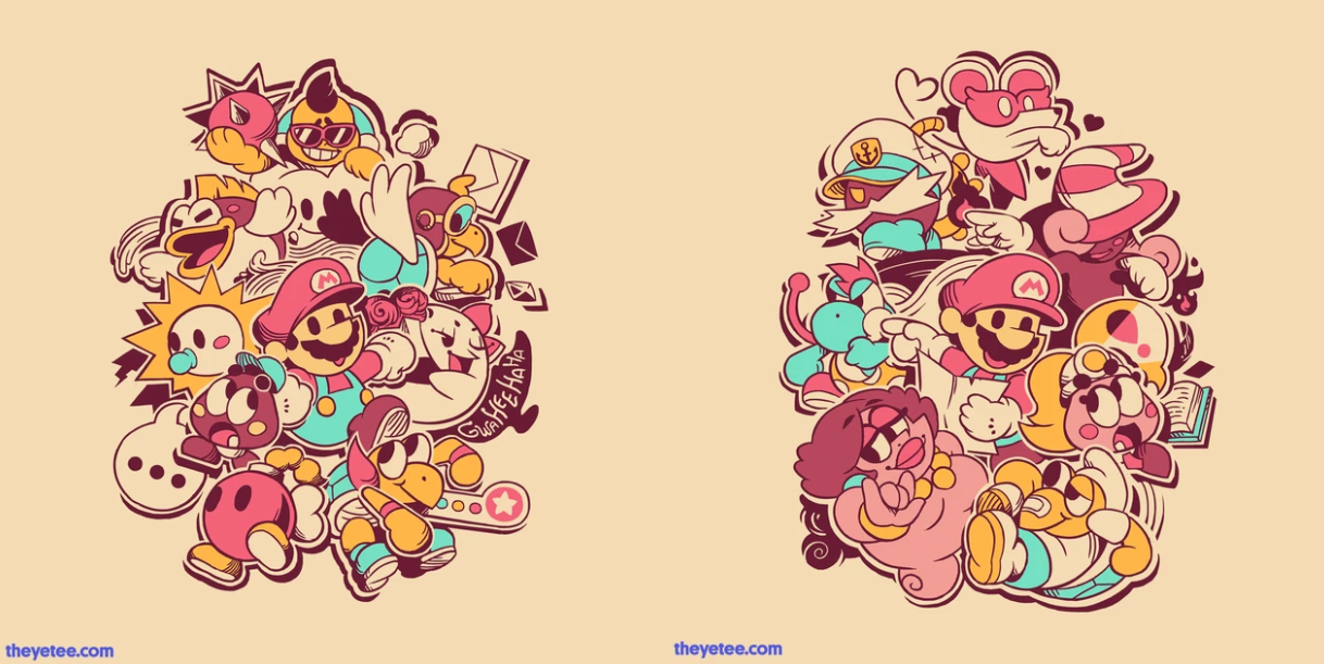 The Yetee Selling Two Paper Mario Themed Shirts Gonintendo 18 coupons and 4 deals which offer up to 50% off , $2 off , free shipping and extra discount, make sure to use one of them when you're shopping for theyetee.com; paper mario themed shirts