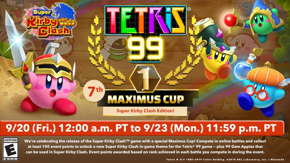 Play Tetris 99 to earn a Super Kirby Clash theme, plus Gem Apples for the Super Kirby Clash