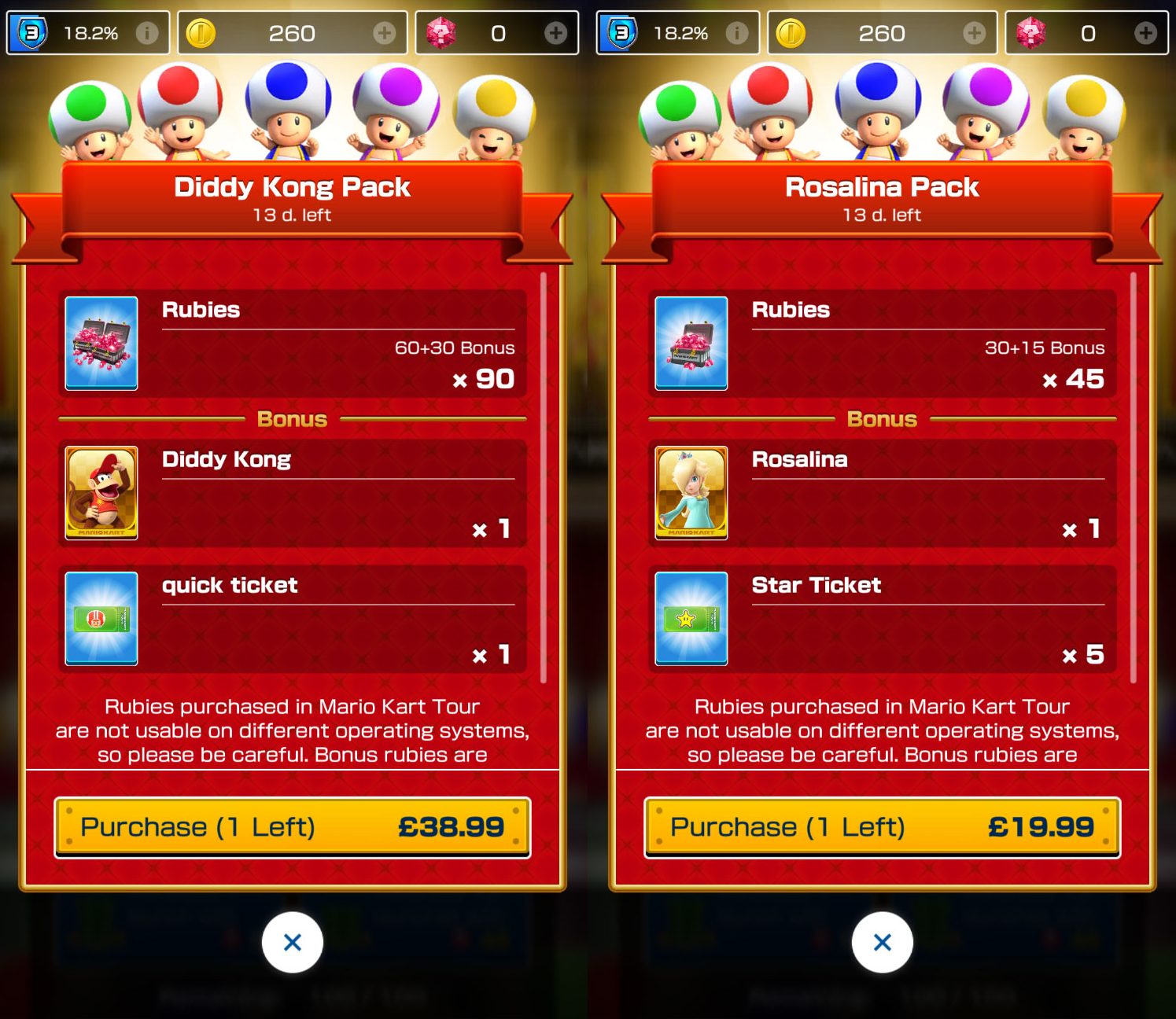 Mario Kart Tour's Rosalina and Diddy Kong packs are pricey endeavors