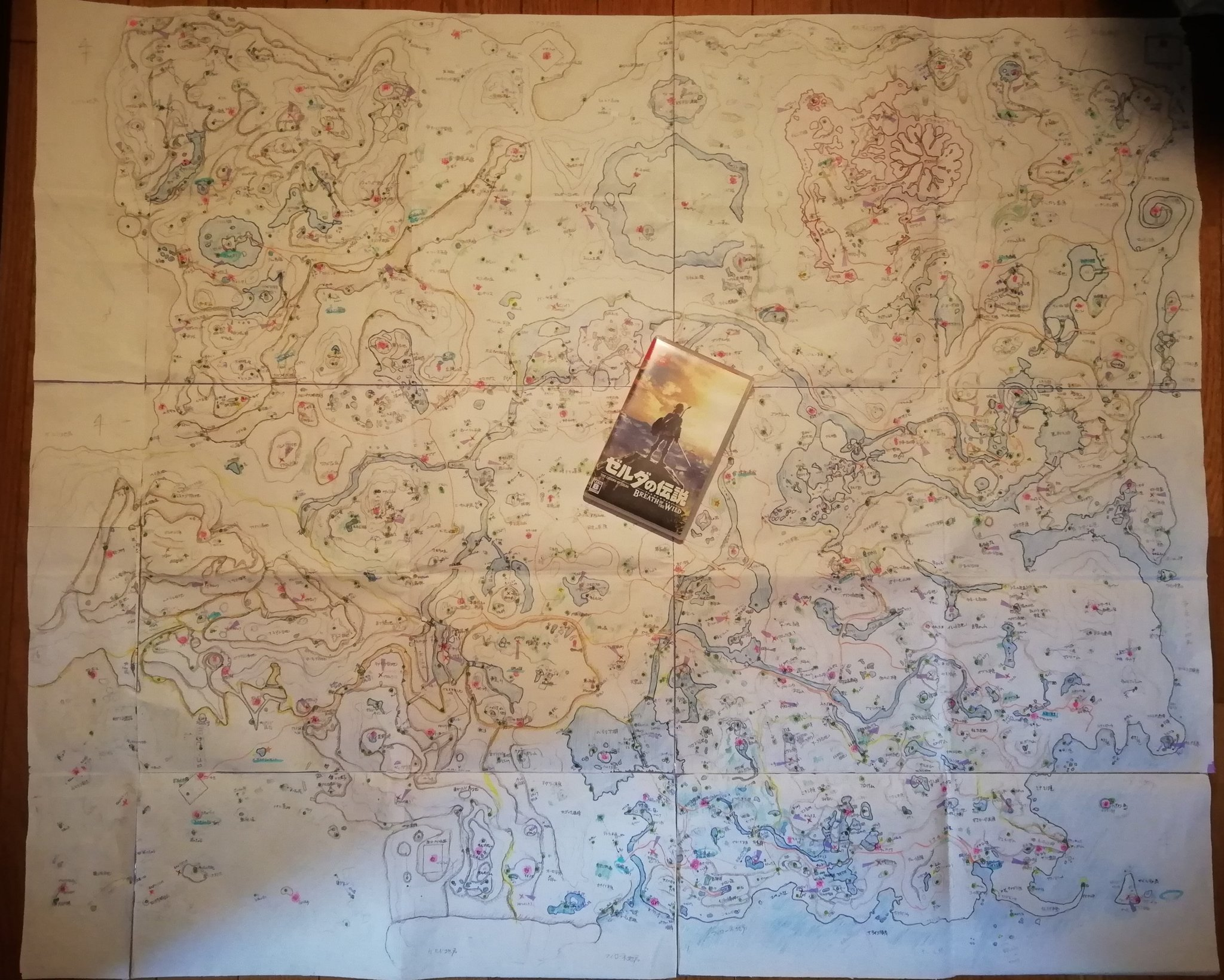 Check out this massive Legend of Zelda: Breath of the Wild hand-drawn map