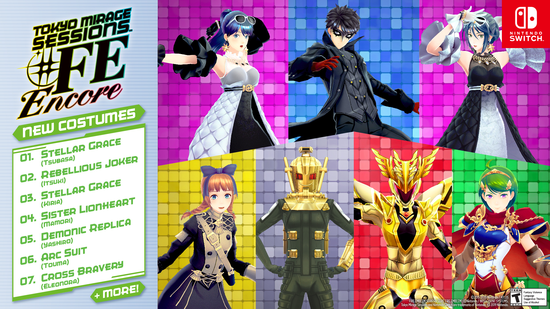Nintendo shares promotional image featuring some of the new costumes in Tokyo Mirage Sessions #FE Encore