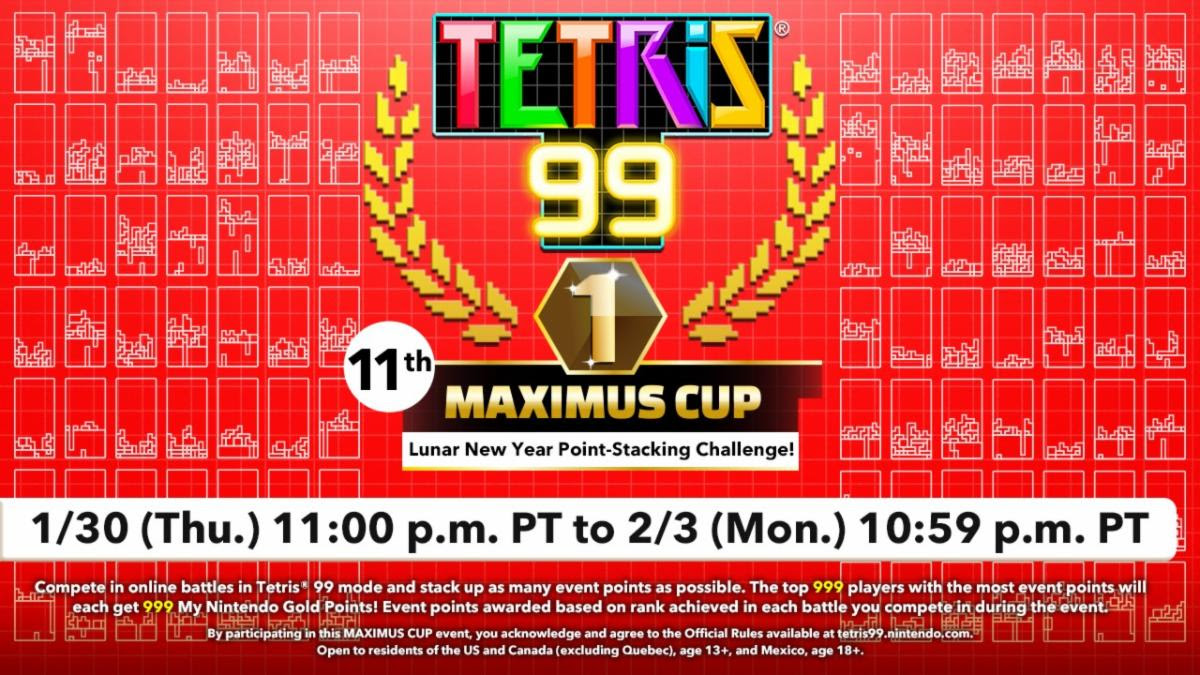 Go for glory in the Tetris 99 11th MAXIMUS CUP Lunar New Year Challenge