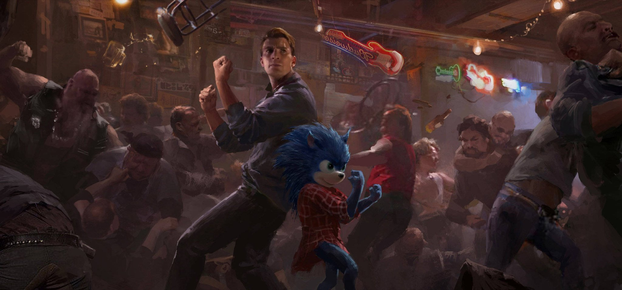 Sonic the Hedgehog movie concept art shows Chris Evans back-to-back with Sonic, and an unused lizard villain