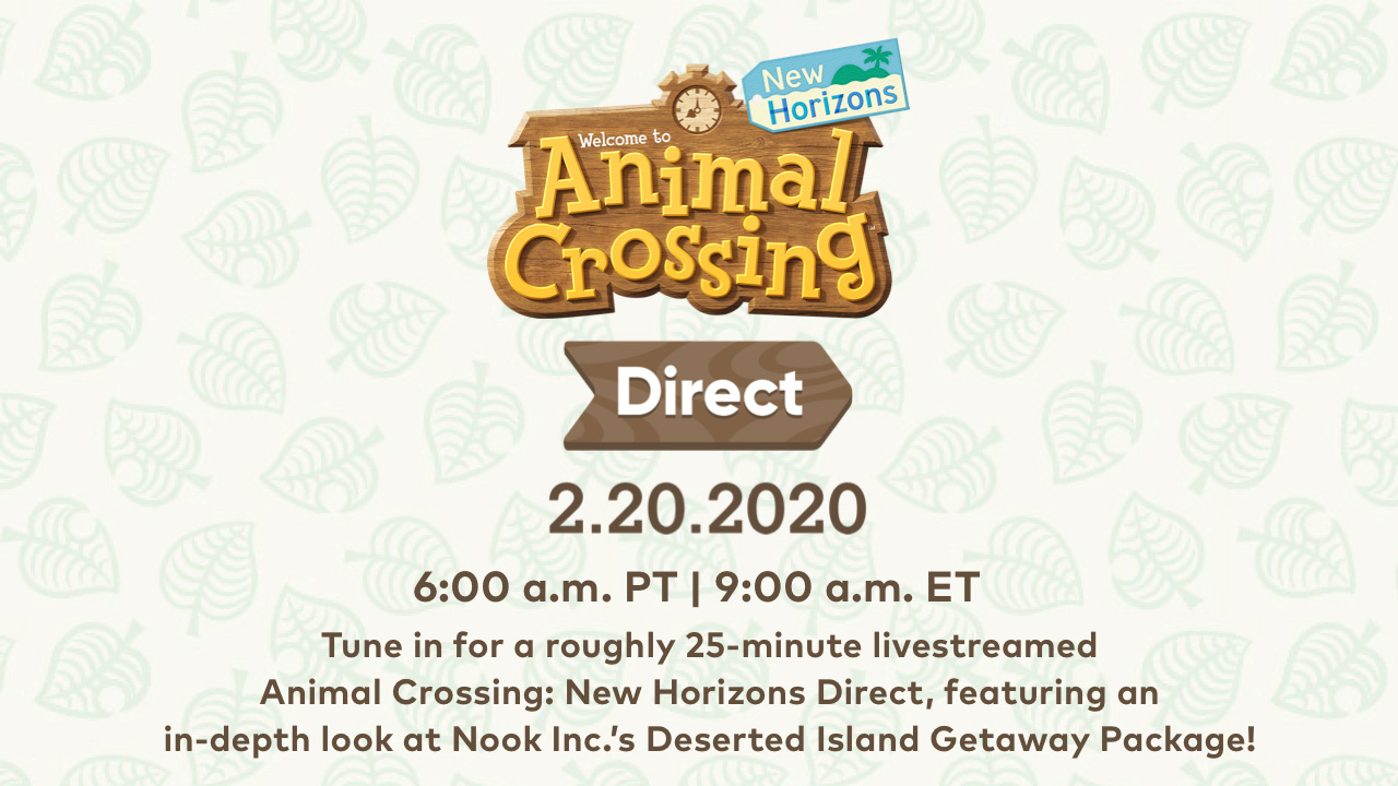 Nintendo announces an Animal Crossing: New Horizons Direct for Feb. 20th, 2020