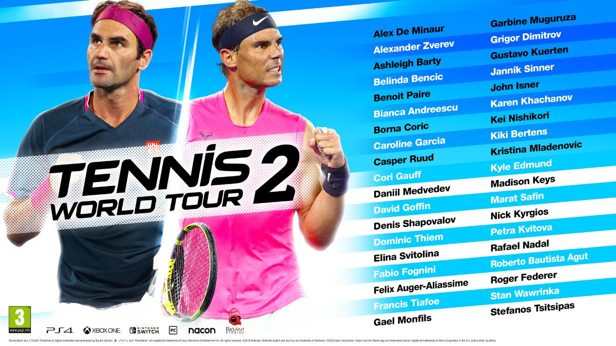 Play as Federer, Nadal and many more in Tennis World Tour 2