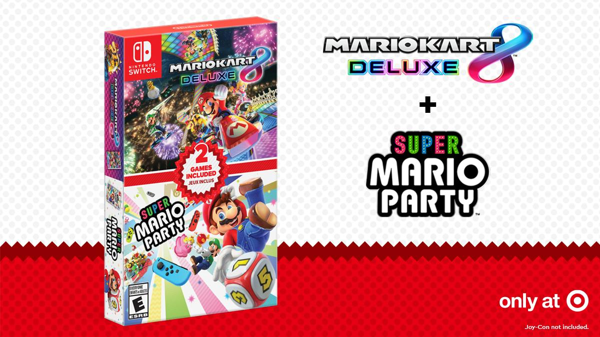 Target selling Mario Kart 8 Deluxe + Super Mario Party Double Pack with a $10 gift card